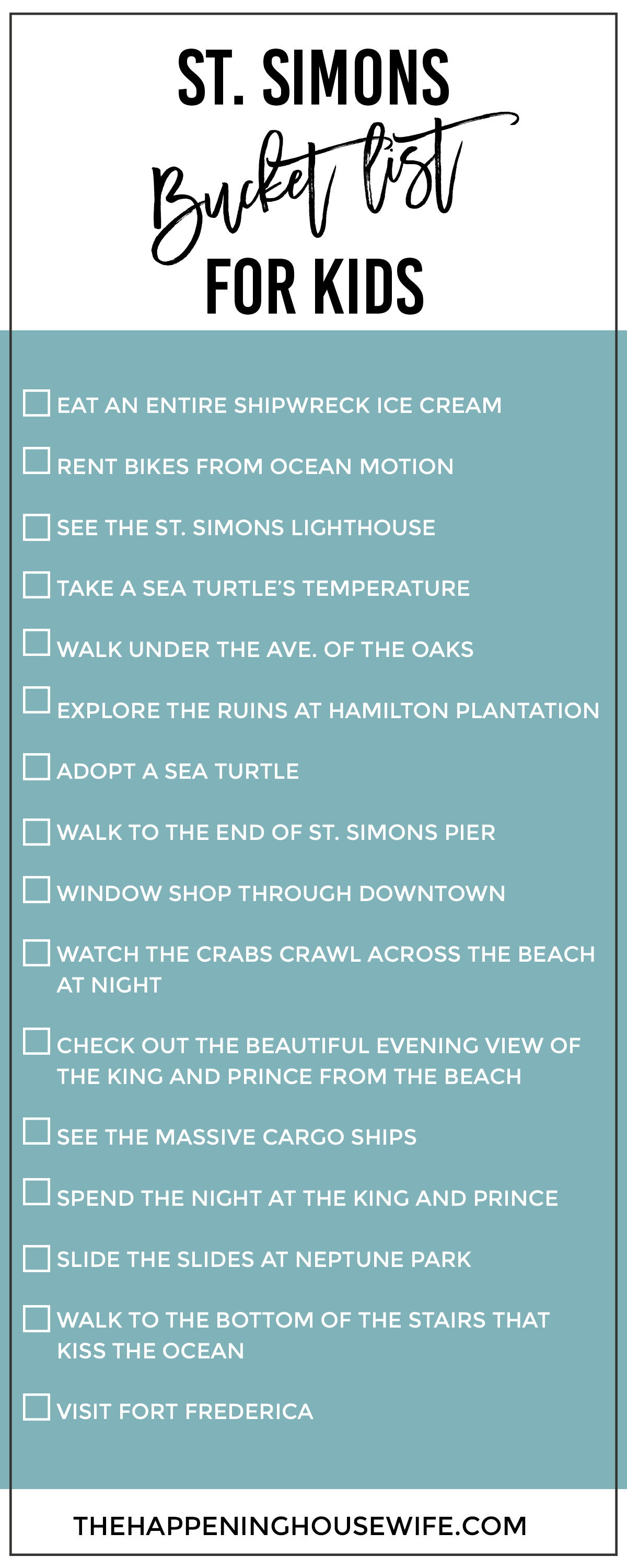 St Simons Bucket List Checklist