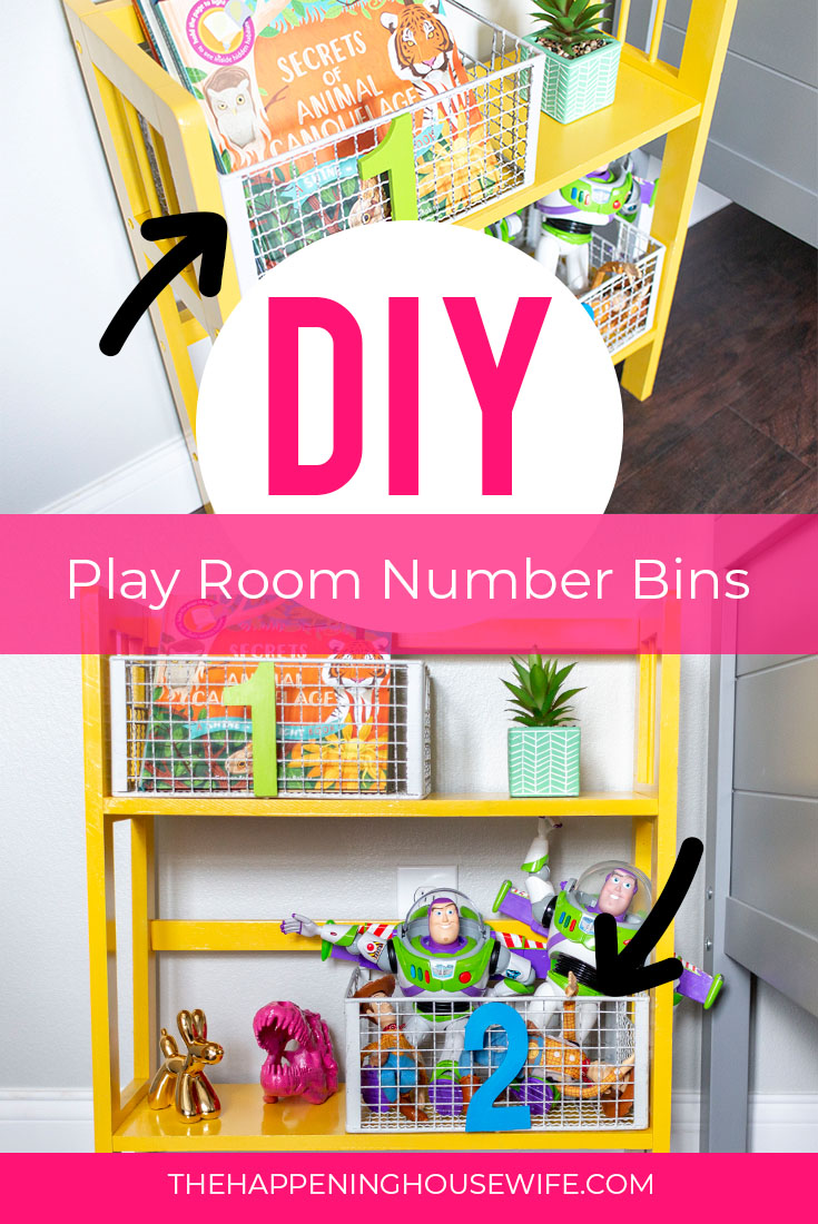 DIY Play room decor number baskets for toy storage play room kids bedroom toy storage