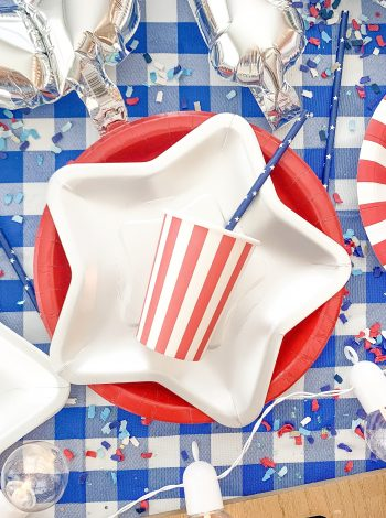 4th of July Baked Potato Bar fourth of july party decor! American party decor ideas! Baked Potato Bar Ideas