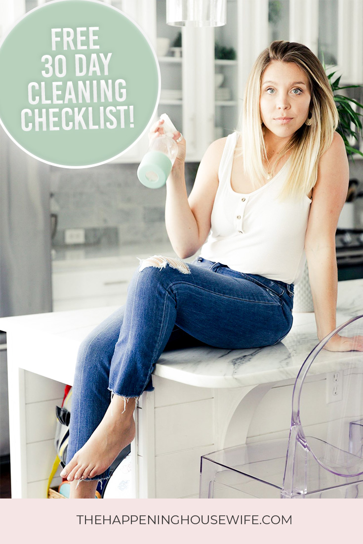 FREE 30 Day Spring Cleaning Challenge Cleaning Checklist for organizing and cleaning!!